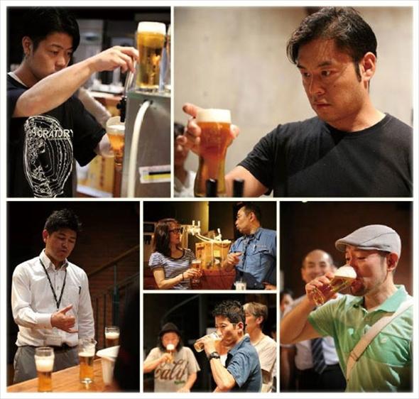 参加店の皆さんとより美味しくヱビスビールを提供できるかを研究する「生ビール研修」